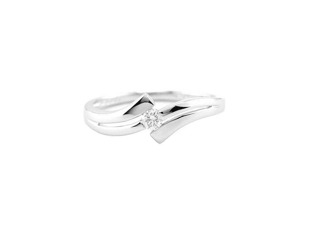Vysoce lesklý prsten z bílého zlata s briliantovým kamenem