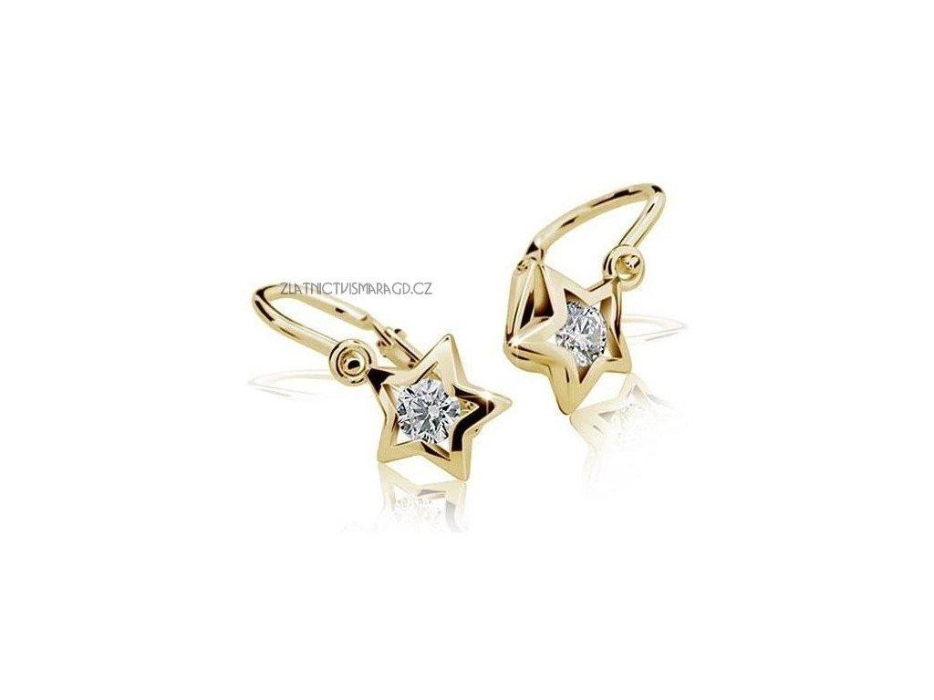 Dětské náušnice – hvězdy žluté zlato ND1942Z Diamonds s brilianty