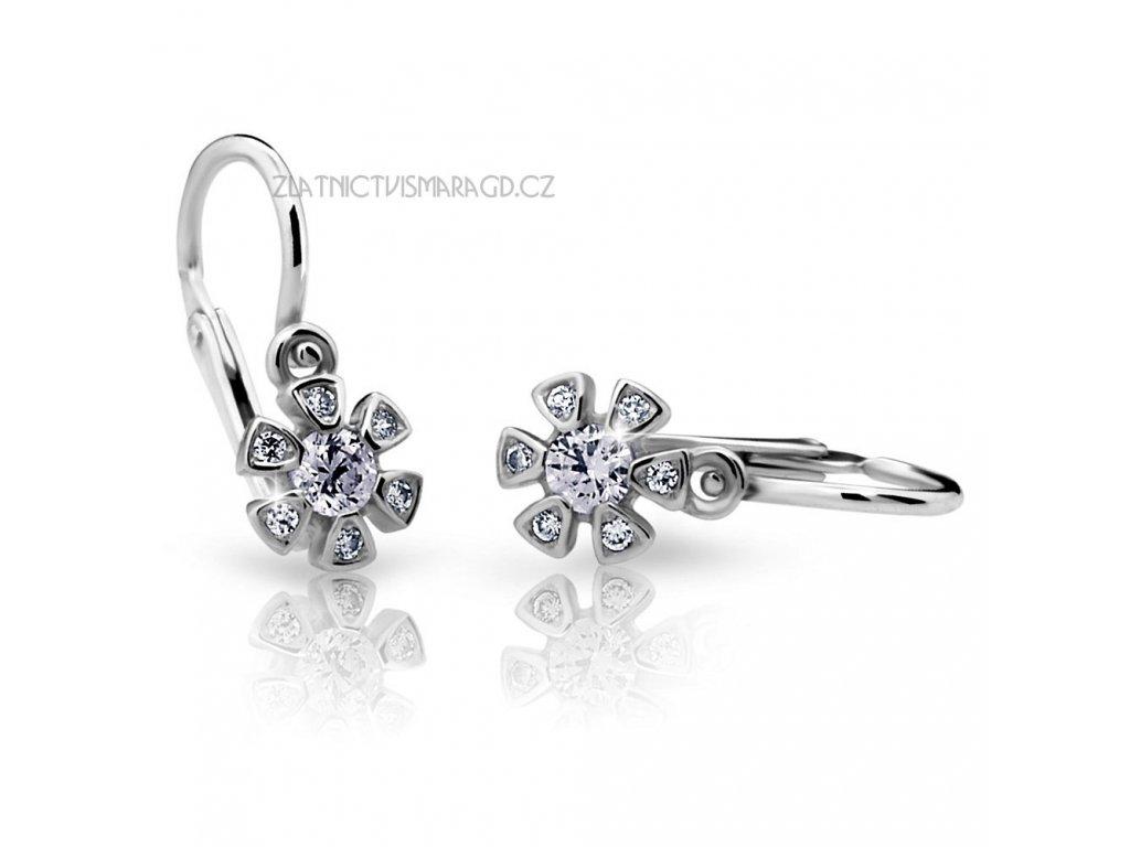 Briliantové náušnice pro holčičky ve tvaru květinky ND2156 Diamonds bílé zlato