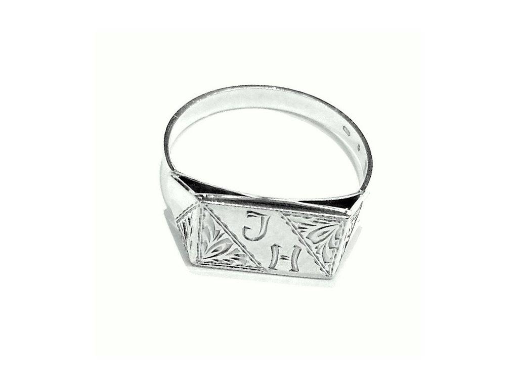 Pánský prsten bílé zlato s monogramem