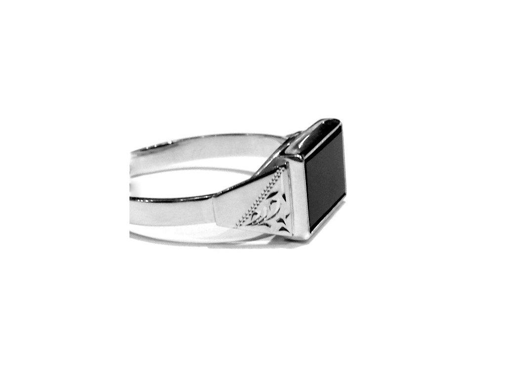 Pánský prsten bílé zlato s Onyxem