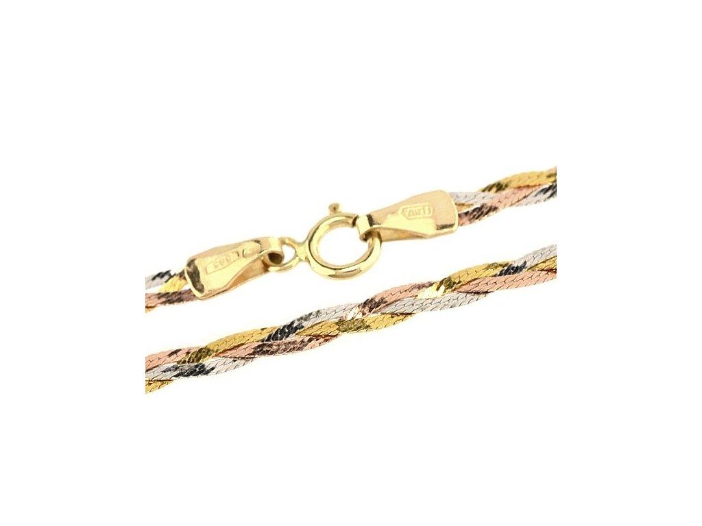 1333-5 Zlatý řetízek 45cm kombinace zlata