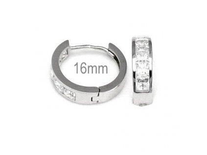Kruhové náušnice z bílého zlata se zirkonovým páskem 16mm