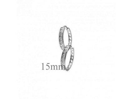 Kroužkové náušnice z bílého zlata s kameny zirkonu 15mm