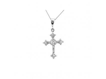 Zlatý přívěšek kříž se zirkony