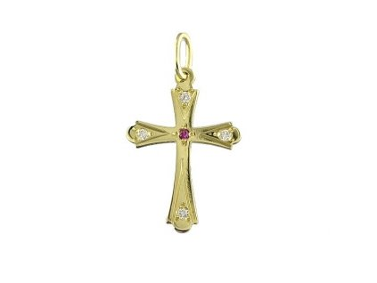 Zlatý kříž s červeným zirkonem