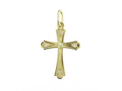Zlatý kříž s bílými zirkony