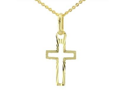 Zlatý kříž obrysový žluté zlato