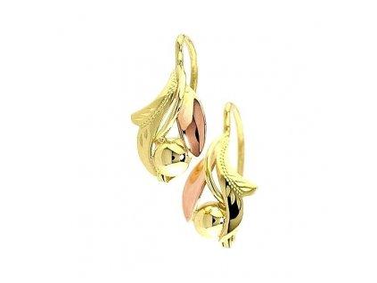 Zlaté náušnice ve tvaru lístečků ze žlutého a červeného zlata