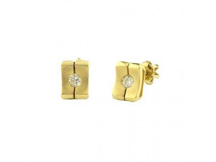 Zlaté náušnice s brilianty – čtvercový tvar