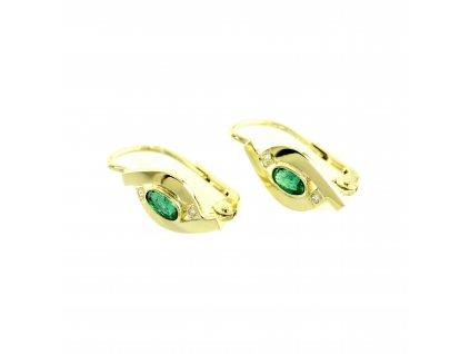 Smaragdové náušnice objímané zlatem s brilianty