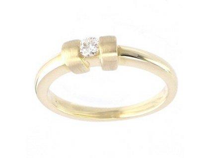 Briliantový prsten s lesklou zlatou obroučkou V53