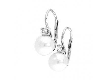 Večerní perlové náušnice z bílého zlata se vsazenými zirkony
