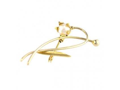 Zlatá brož - kytička
