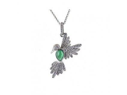 Smaragdový přívěsek s kolibříkem