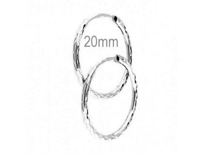 Módní kruhové náušnice bílé zlato 20mm