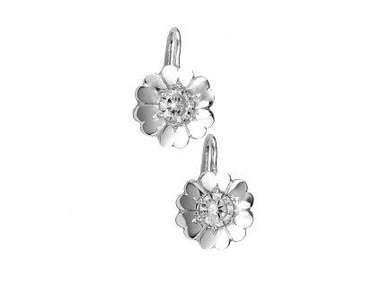 Květinové náušnice z bílého zlata poseté zirkony 12mm