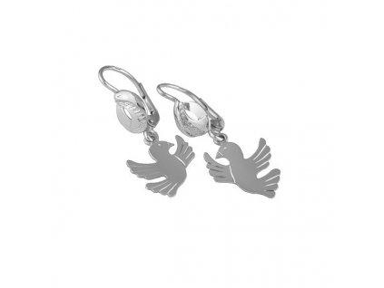 Náušnice s holubičkami z bílého zlata