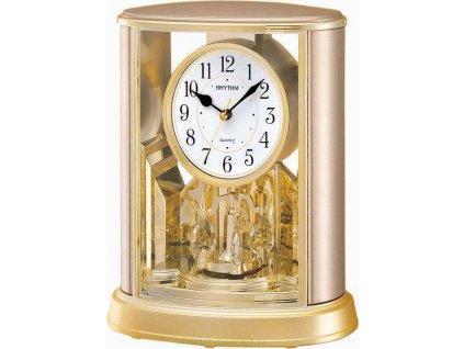 Stolní hodiny zlaté barvy RHYTHM 4SG724WR18 s otáčecí kyvadlem