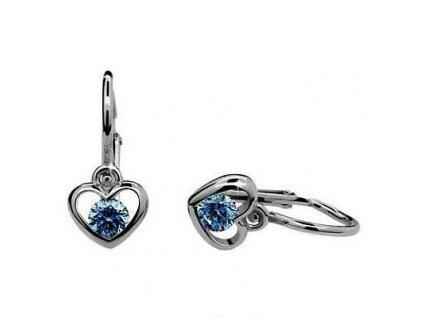 Dětské náušnice ve tvaru srdce z bílého zlata s modrými zirkony Cutie C1943
