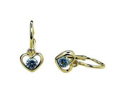 Dětské náušnice ve tvaru srdce Cutie C1943 s modrým zirkonem