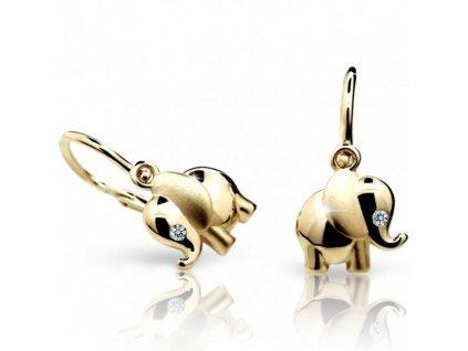 detske nausnicky cutie sloni c1955 ze zluteho zlata 10305