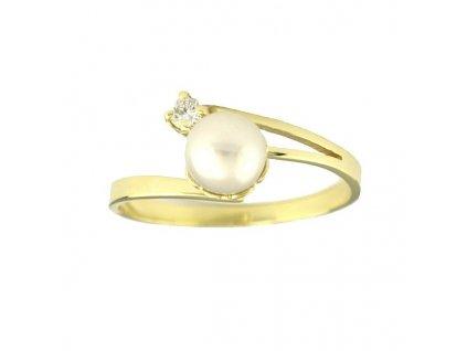 Perlový prsten se zirkonem