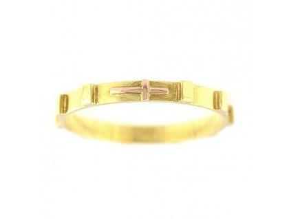 Zlatý prsten růžencový ze žlutého zlata
