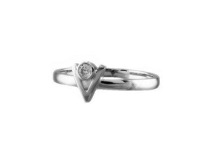 Briliantový prsten z bílého zlata s hlavou ve tvaru písmene V