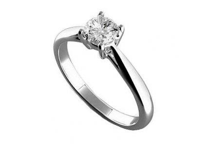 Lesknoucí se briliantový prsten bílé zlato