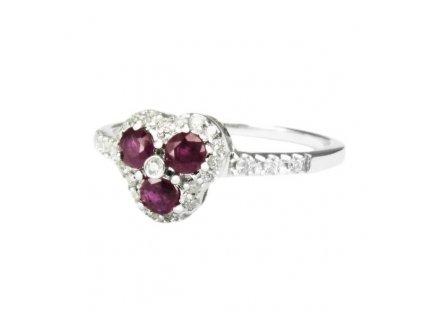 Prsten z bílého zlata s rubínovým trojlístkem V55