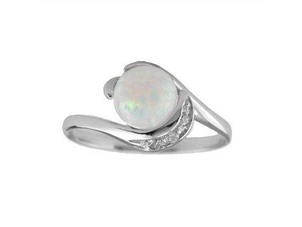 Opálový prsten s bílými zirkony
