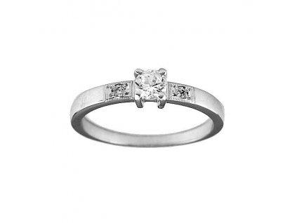 Zlatý prsten se zirkony z bílého zlata