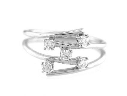 Originální prsten z bílého zlata s pěti kameny briliantu