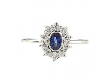 Safírový prsten s brilianty