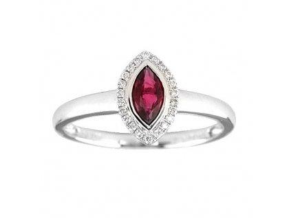 Rubínový prsten – bílé zlato s brilianty