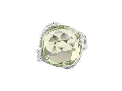 Třpytivý prsten z bílého zlata se světle zeleným ametystem