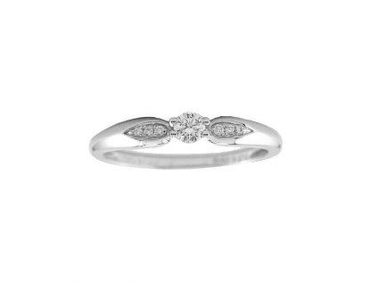 Lesklý briliantový prsten z bílého zlata