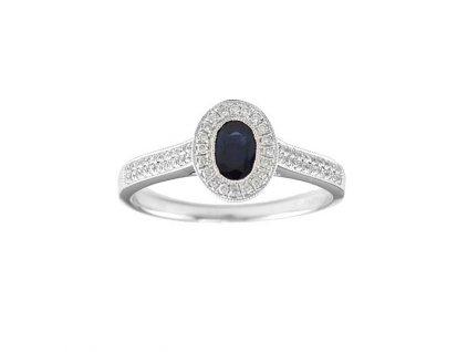 Safírový prsten bílé zlato obklopený briliantovou září