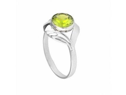 Kouzelný olivínový prsten z bílého zlata zdobený brilianty