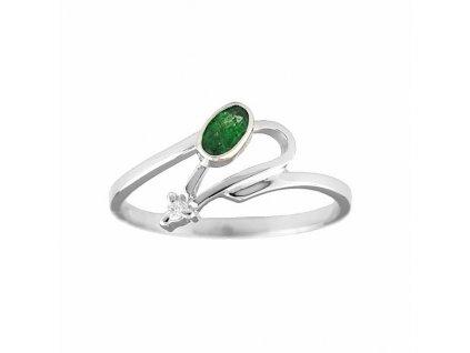 Smaragdový prsten z bílého zlata s diamantem