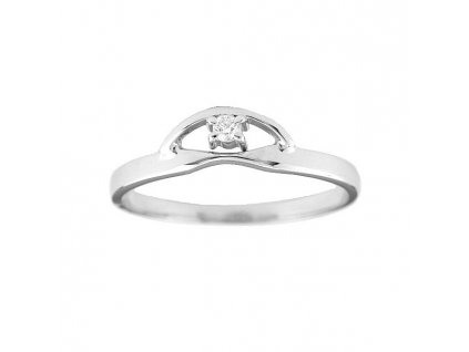 Kvalitní prsten bílé zlato s briliantem