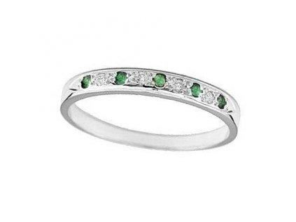 Smaragdový prsten s třpytivými brilianty bílé zlato