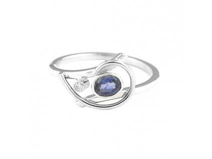 Safírový prsten bílé zlato s diamantem