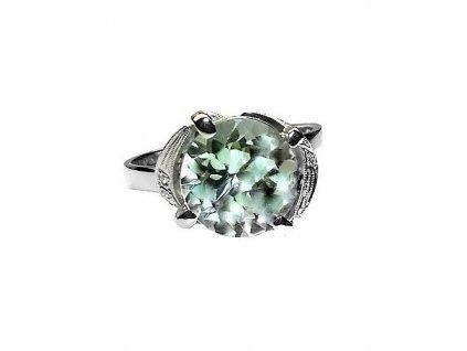 Ametystový prsten s brilianty bílé zlato