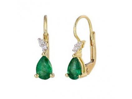 Elegantní smaragdové náušnice ze žlutého zlata s francouzským zapínáním