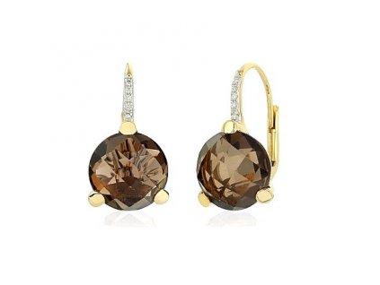 Zlaté náušnice s brilianty a záhnědovým kamenem