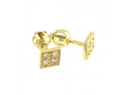 Zlaté náušnice čtvercového tvaru se vsazenými brilianty