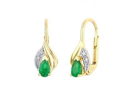 Smaragdové náušnice z 14 karátového žlutého zlata s brilianty