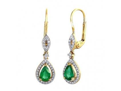 Náušnice ze zlata se smaragdovou kapkou obklopenou brilianty